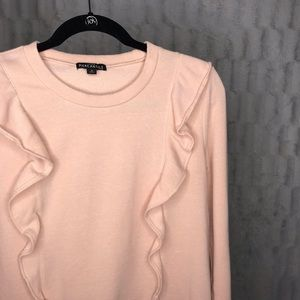 J. Crew Mercantile Pink Ruffle Crewneck Sweatshirt